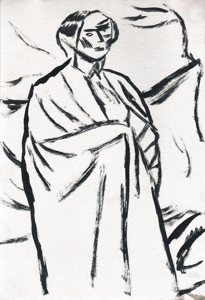 Iosif Iser, Ilustratie la DE VORBA CU MINE INSU-MI, Poezii de Ion Minulescu, Bucuresti, 1913, desen tus pe hartie, 29x20cm