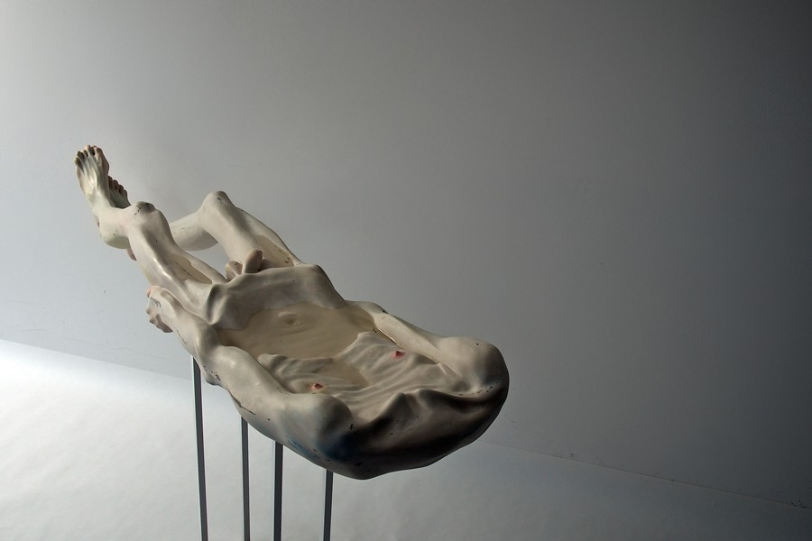 Bogdan Raţa, Trying to Keep Life, 2012, polyester, synthetic resin, fiber, paint, metal, water, 153 x 36,5 x 17 cm