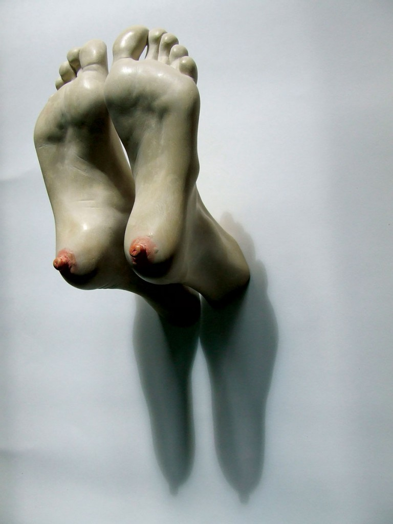Bogdan Rata, Tits, polyester, synthetic resin, paint, metal, 2010, 28x20x15 cm