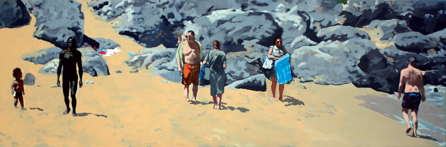 Dragos Burlacu, Babel ...Falasarna, 2010, oil on canvas, 50 x 150cm