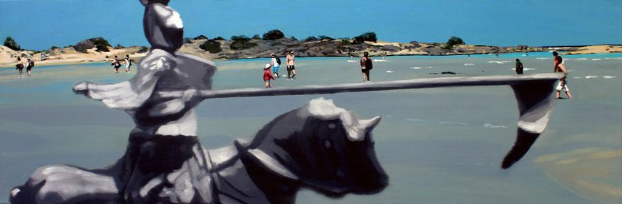 Dragos Burlacu, Lead knight ... Elafonisi, 2010, oil on canvas, 50 x 150cm