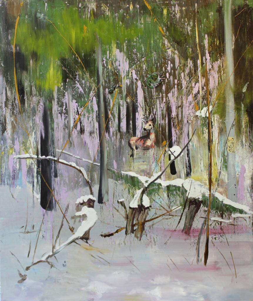 Dragos Burlacu, Untitled forest, 2013, oil on canvas, 130x100 cm