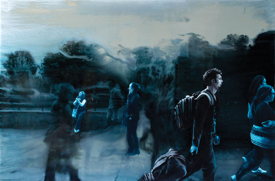 Francisc Chiuariu, Outdoor fall 3, 2011 oil & ink on backlit, 80x120 cm