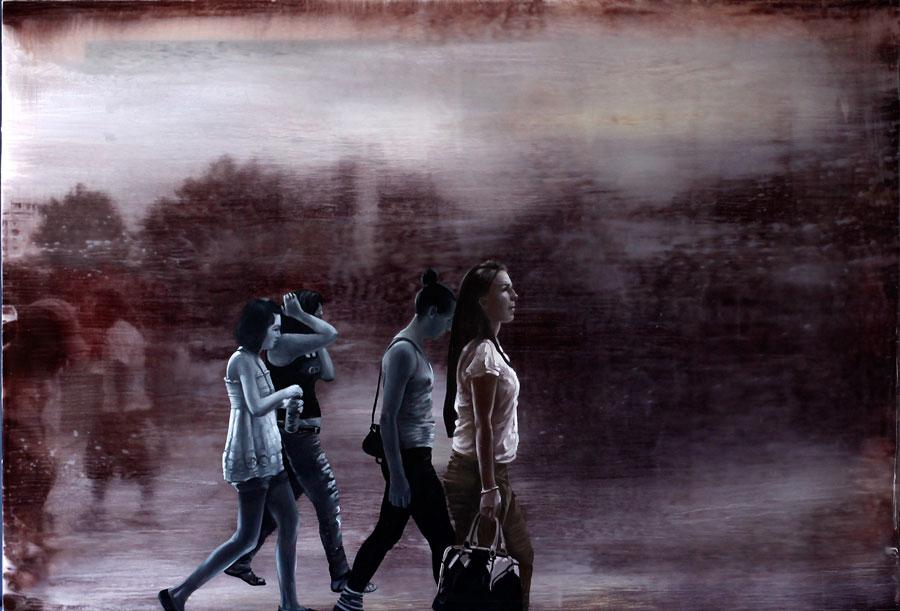Francisc Chiuariu, Outdoor summer 4, 2011 oil & ink on backlit, 80x120 cm