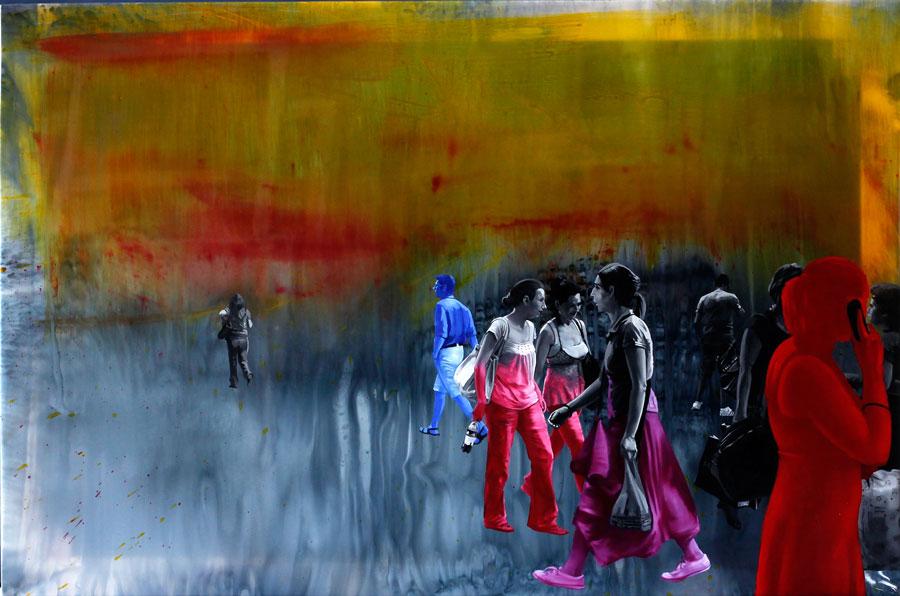 Francisc Chiuariu, Outdoor summer 5, 2011 oil & ink on backlit, 80x120 cm
