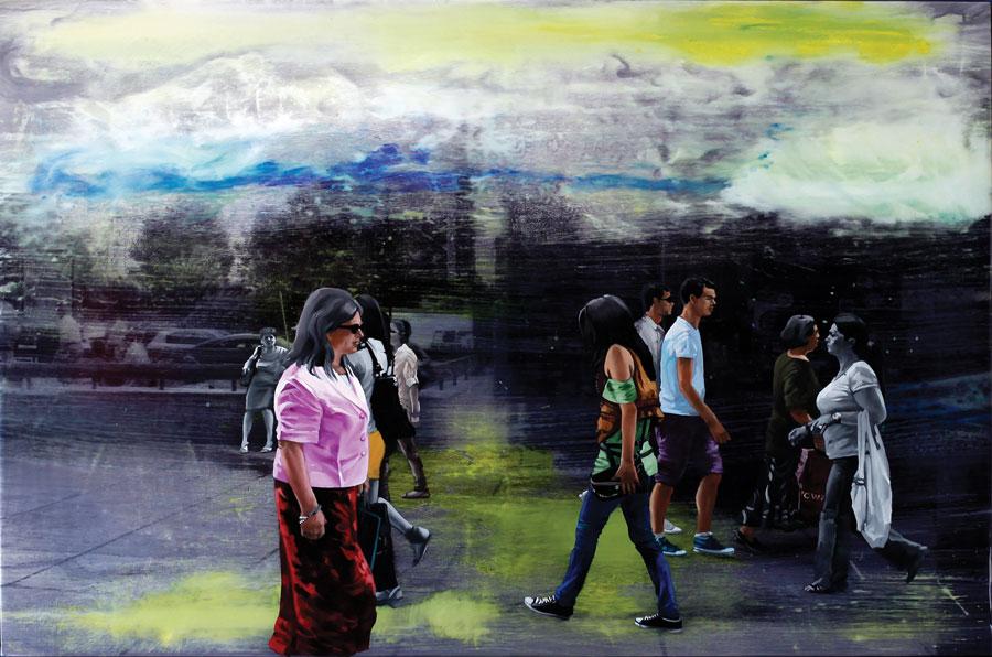 Francisc Chiuariu, Outdoor summer 6, 2011, oil & ink on backlit, 80x120 cm