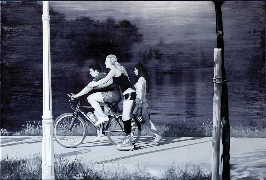 Francisc Chiuariu, Outdoor summer 9, 2011, oil & ink on backlit, 80x120 cm