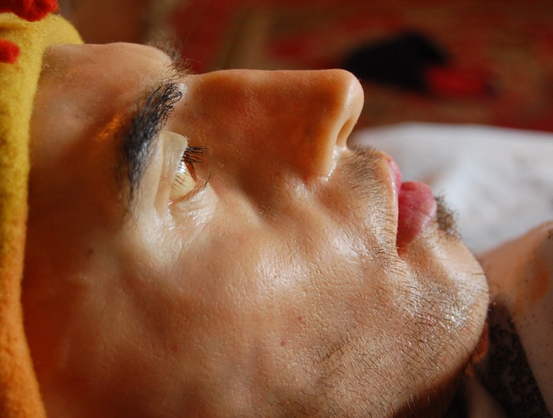 Felix Deac, Self-portrait, detail, mixed media