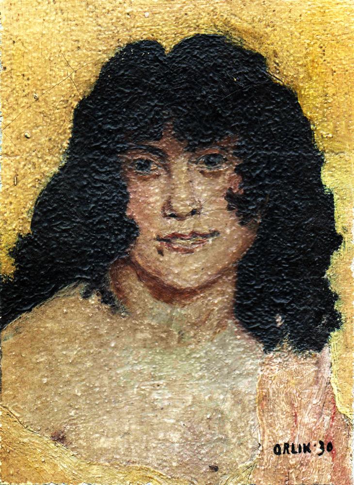 Emil Orlik, Portrait of a woman, study after Henri Regnault, Salomé, 1930, oil on canvas on cardboard, 15x11 cm