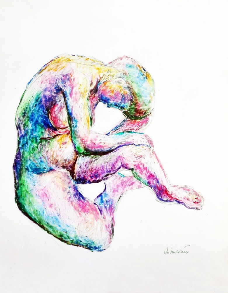Marilena Murariu, Nude, 2016, wax pastel on cardboard, 34x43 cm