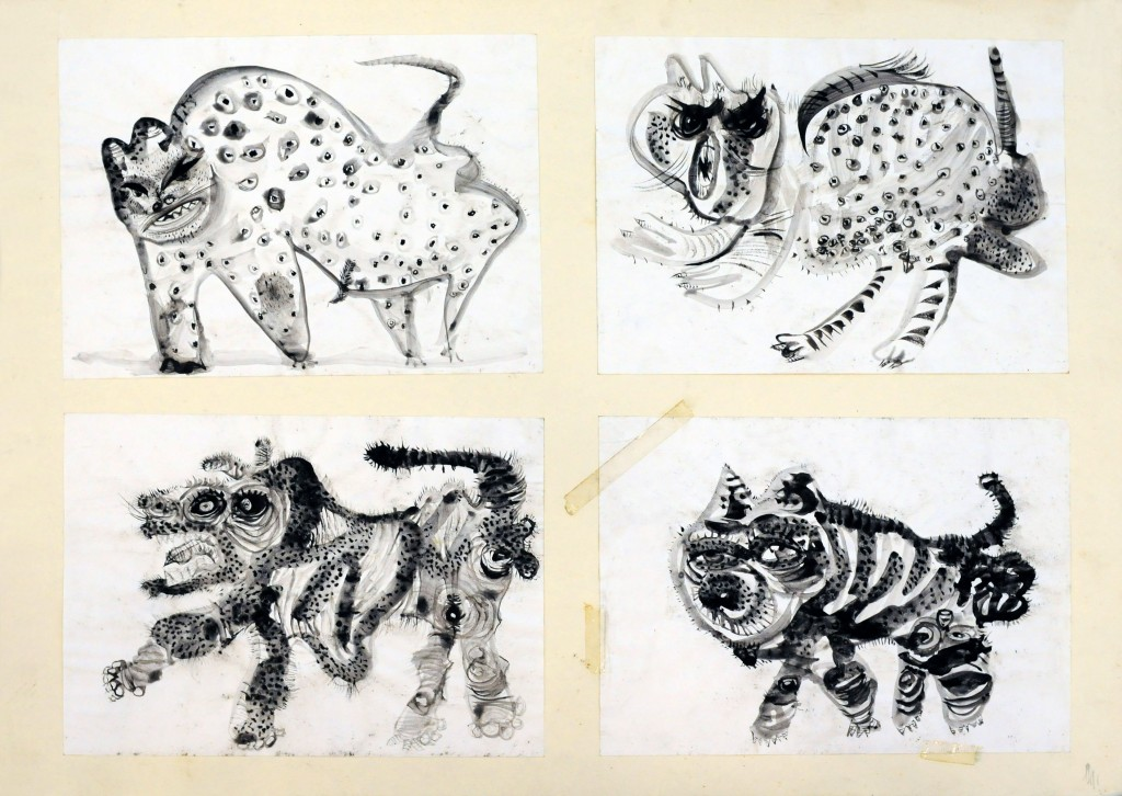 Mircea Suciu, Four panthers, 1996, ink on paper, 70 x 50 cm
