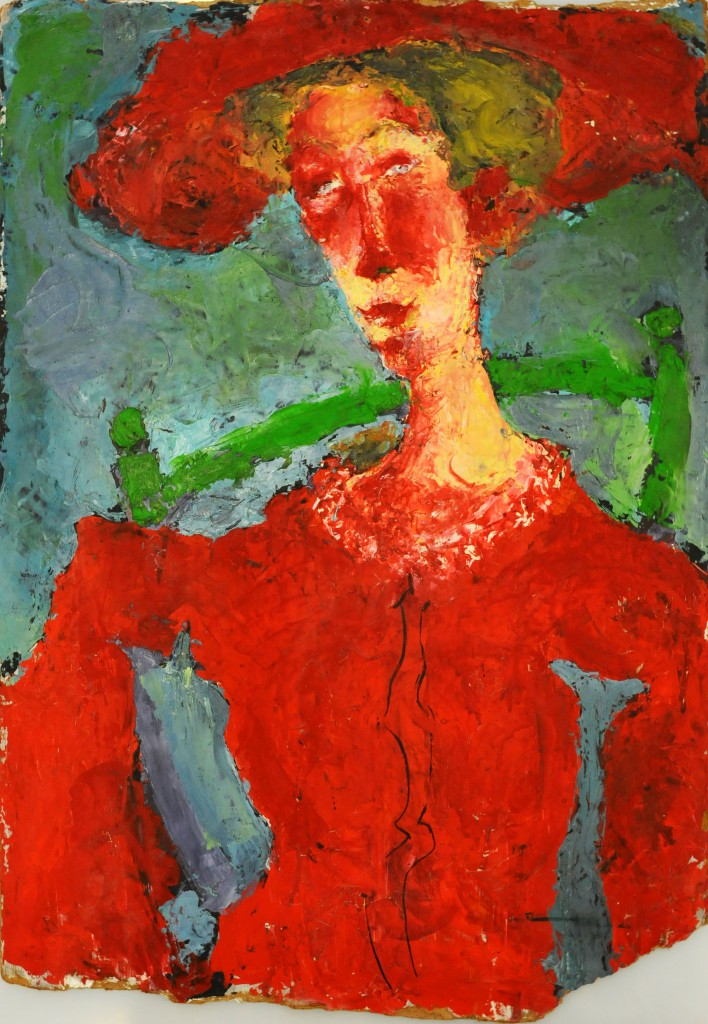 Mircea Suciu, Lady in red, 1994, oil on wood panel, 72 x 50 cm