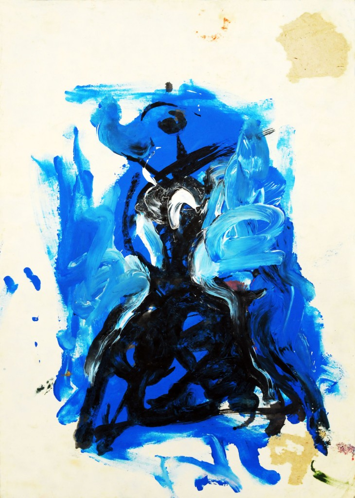 Mircea Suciu, Study in blue for Model in pause, 1995, ink and acylic on paper, 21 x 30 cm