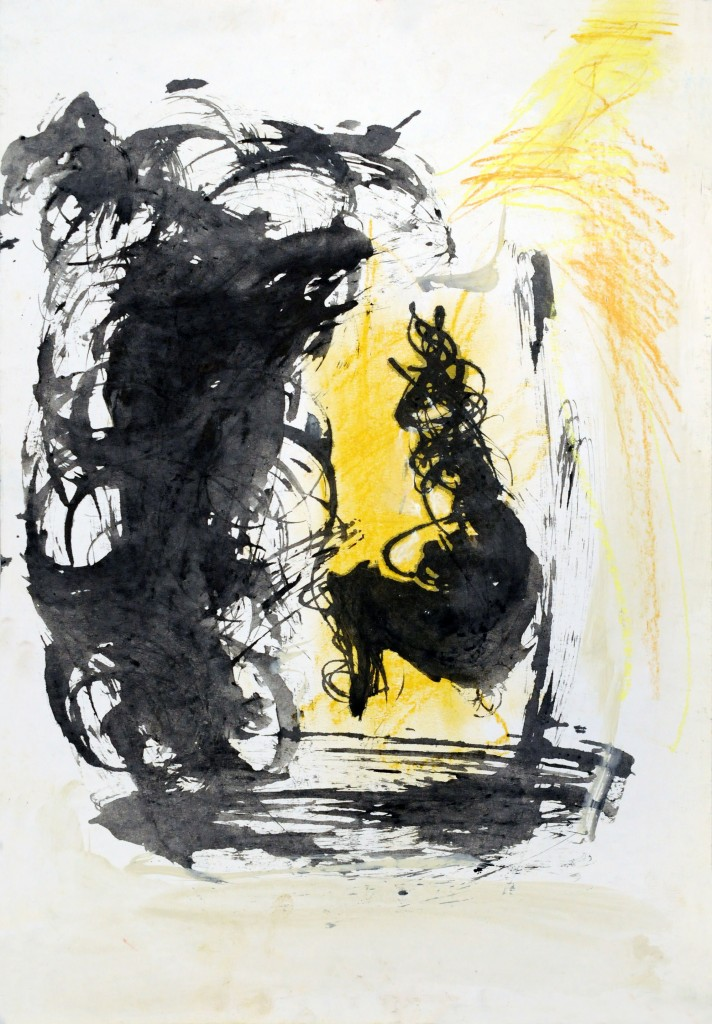 Mircea Suciu, Study in grey and yellow for Model in pause, 1995, ink and acylic on paper, 51,5 x 35,5 cm