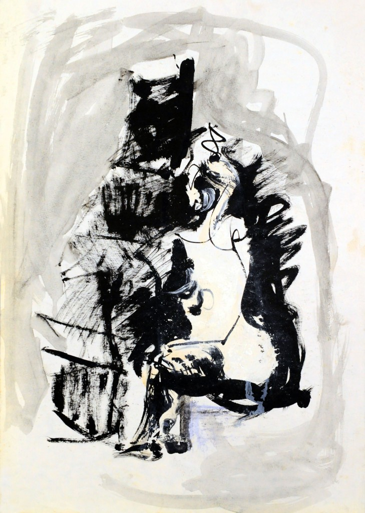 Mircea Suciu, Study in grey for Model in pause, 1995, ink and acylic on paper, 51 x 36 cm