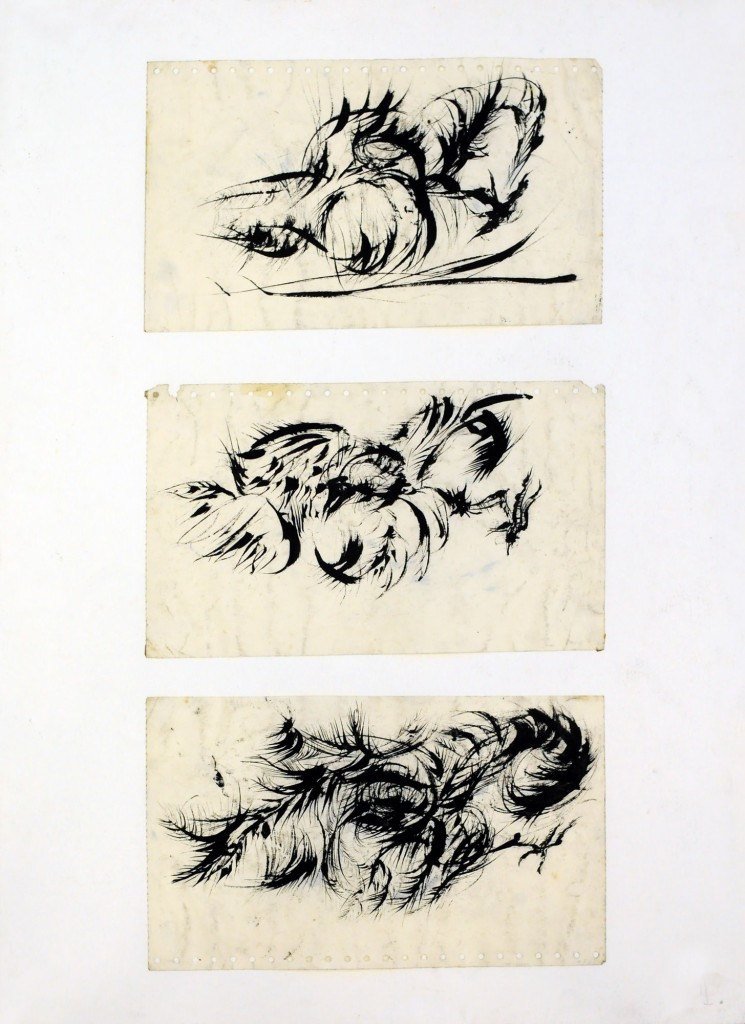 Mircea Suciu, Three dead chickens, 1996, ink on paper, 70 x 50 cm