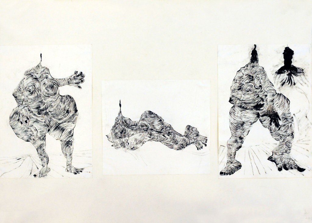 Mircea Suciu, Three nudes, 1996, ink on paper, 70 x 50 cm
