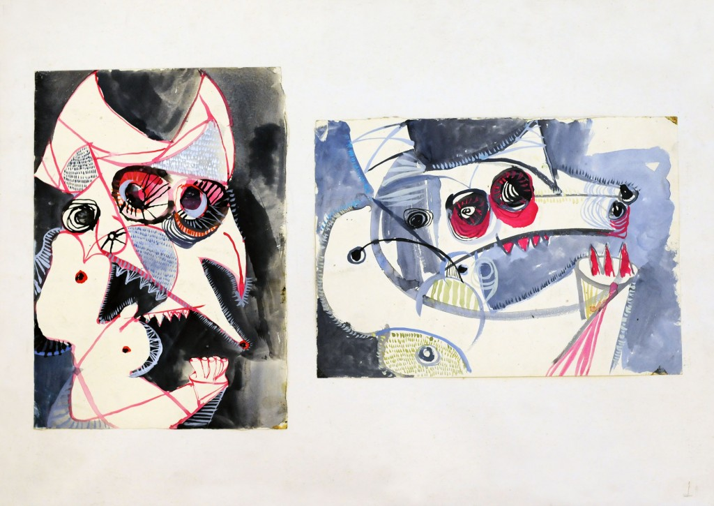 Mircea Suciu, Two bulls heads, 1996, temepera, acryl and ink on paper, 70 x 50 cm