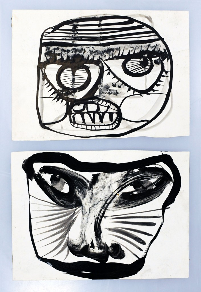 Mircea Suciu, Two portraits, 1996, ink on paper, 30  x 21 cm