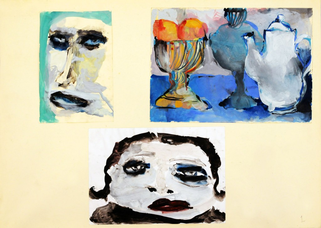 Mircea Suciu, Two portraits and a still life, 1996, temepera, acryl and ink on paper, 70 x 50 cm