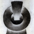 Victor Ciato, 5 obiecte albe cu reflex, 1972, charcoal on paper, 24 x 16 cm