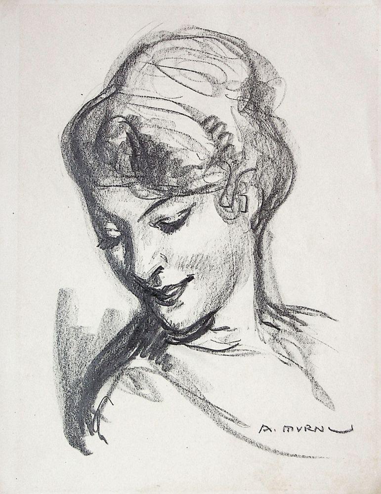 Ary Murnu, Portret de femeie, creion pe hartie, 22,5x17,5 cm