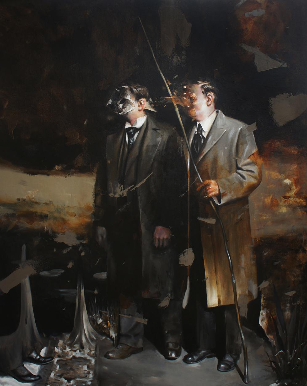 Radu Belcin, Travellers, 2013, oil on canvas, 165x135cm