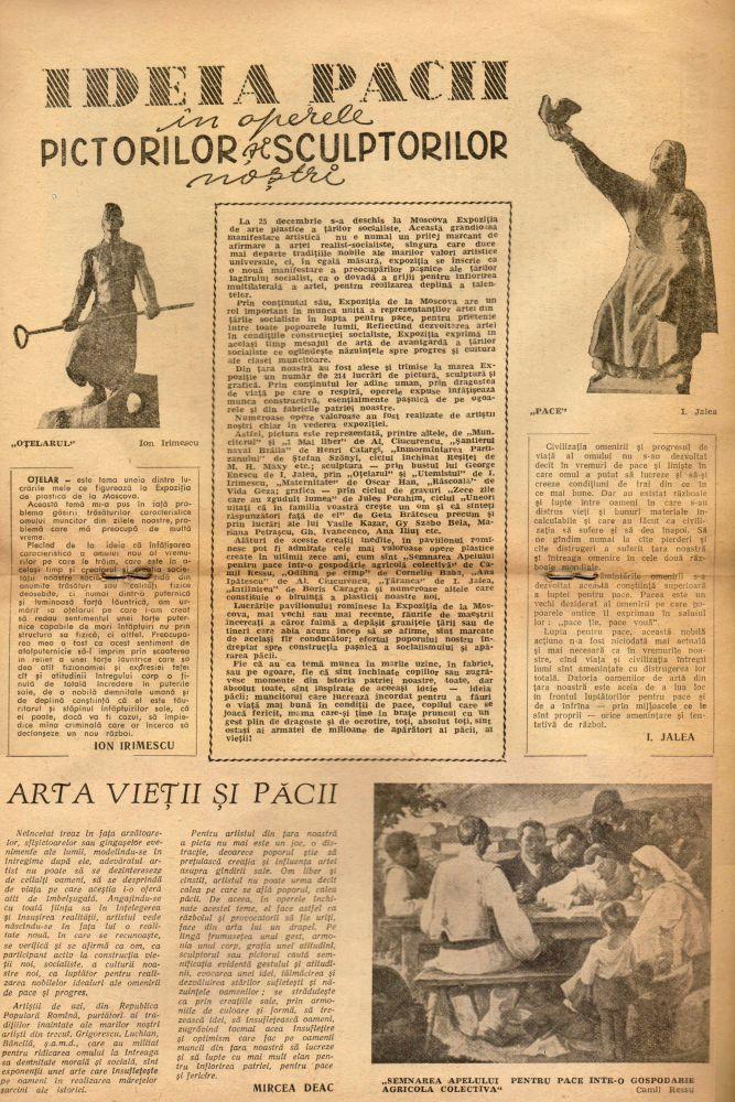 Ideia Pacii in operele pictorilor si sculptorilor nostri in Pentru Apărarea Păcii, nr. 12, decembrie 1958