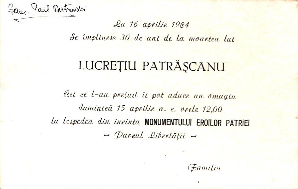 Omagiu 30 de ani de la moartea lui Lucretiu Patrascanu, 1984