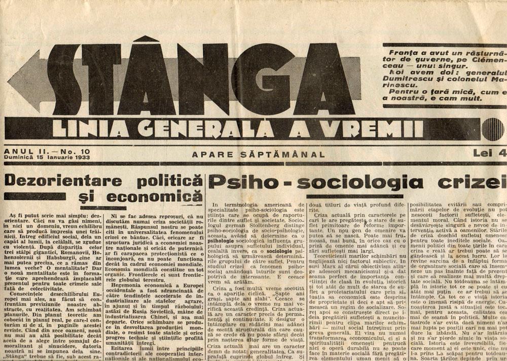 Stanga, ianuarie 1933
