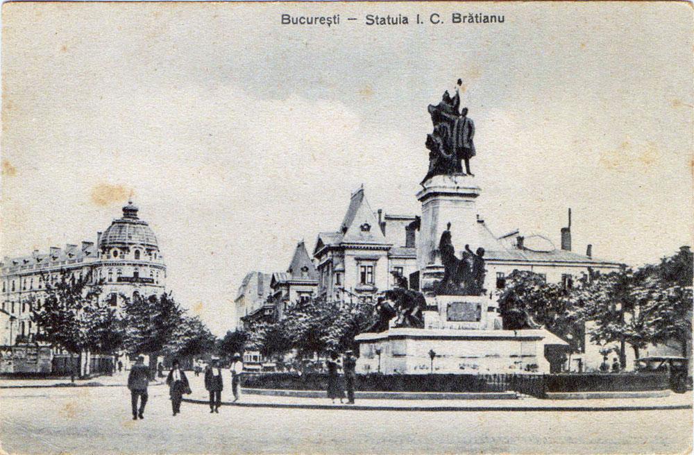 București, Statuia I.C.Bratianu, postal card