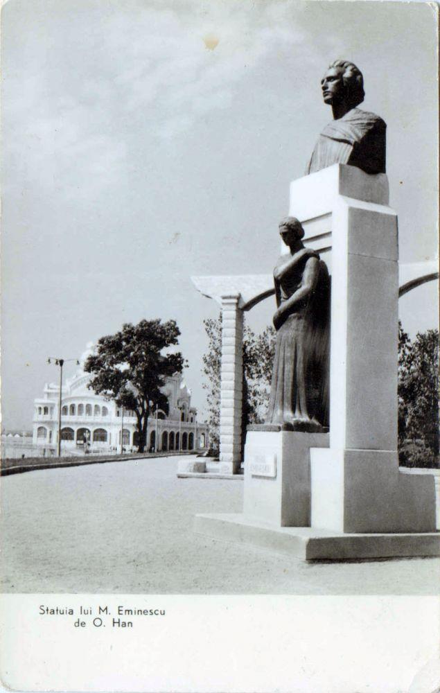RPR, Constanța, Statuia lui M Eminescu de O Han, postal card