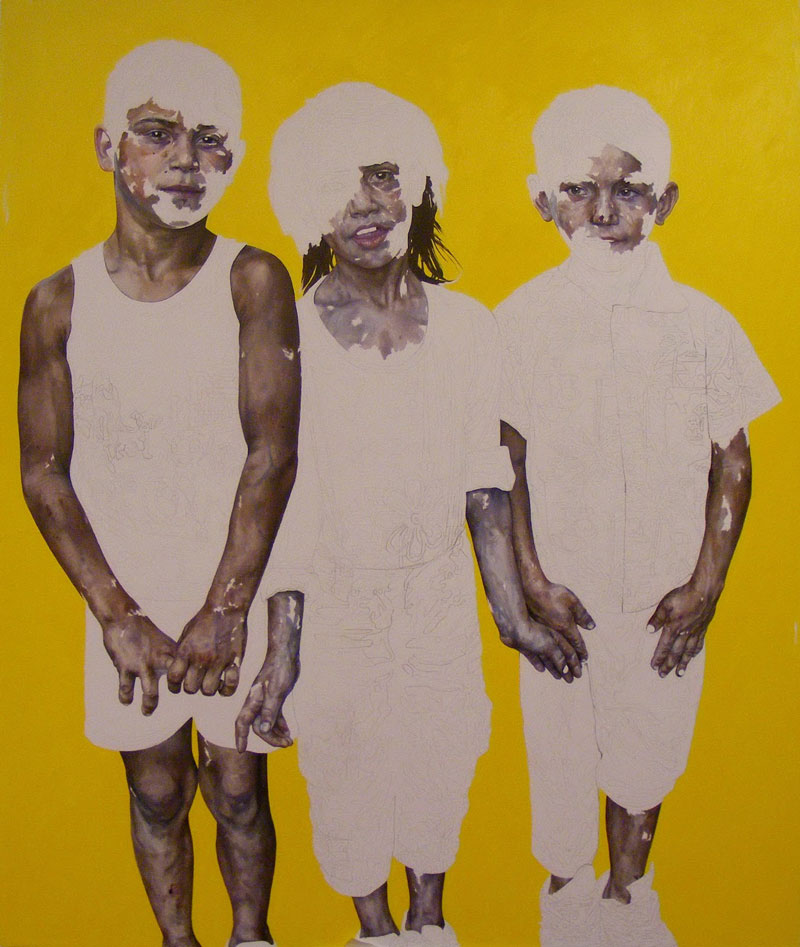 Daniel Brici, Metamorphose, 170x140cm, pencil, oil on canvas, 2012