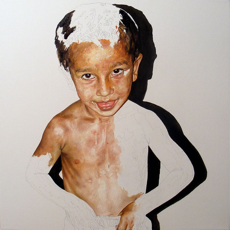 Daniel Brici, Phal, 50x50cm, pencil, oil on canvas, 2011