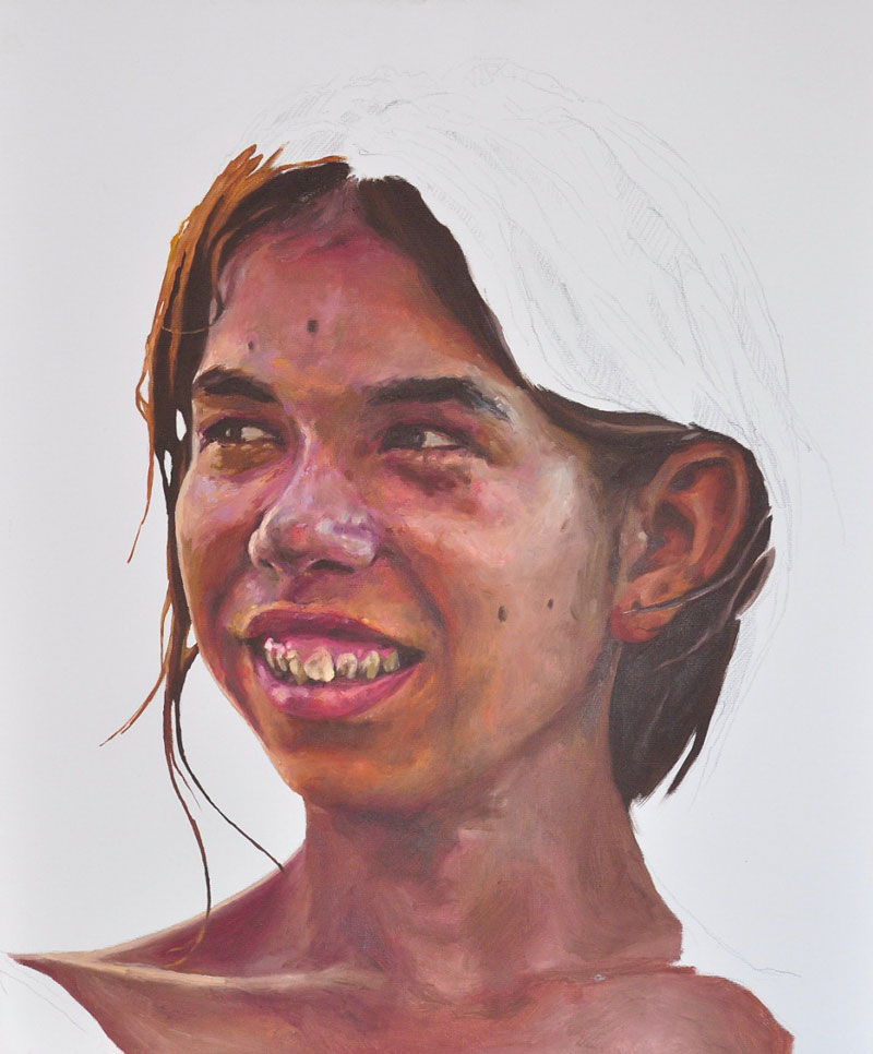 Daniel Brici, Say cheese!, 60x50cm, pencil, oil on canvas, 2009