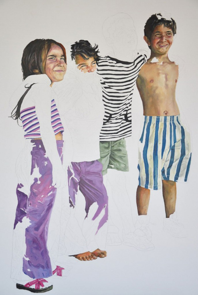 Daniel Brici, five for three lei, 100x70cm, pencil, oil on canvas, 2009