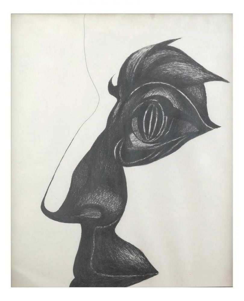 Hedda Sterne - Profile, 1971, Ink Drawing, collection of Dr. Richard and Odile Stern 13 x 10 inch