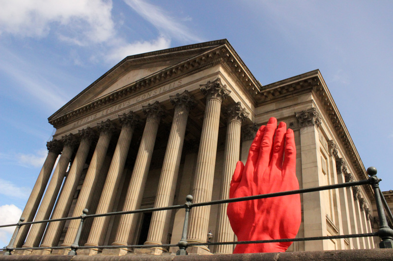 Monumental Sculpture of Bogdan Rata in front of St. George's Hall within Independents Liverpool Biennial