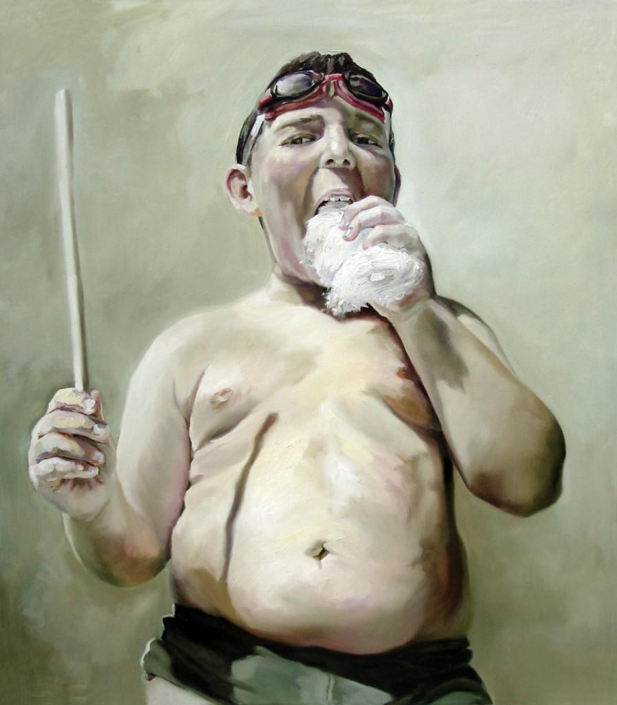 Anca Danila, Infant Obesity (1), oil on canvas, 80 x 90 cm, 2010