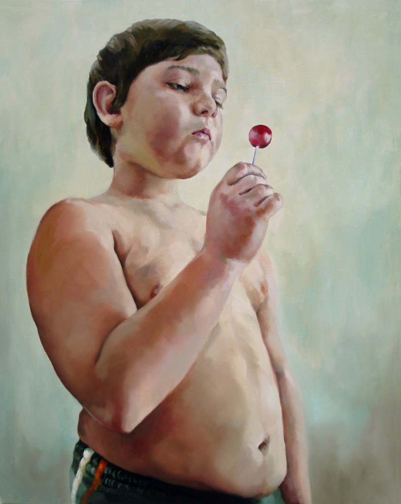 Anca Danila, Infant Obesity (3) oil on canvas, 80 x 100 cm, 2010