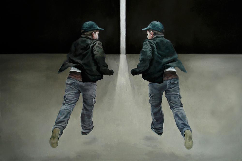 Anca Danila, Running from myself, oil on canvas 80 x 120 cm, 2012