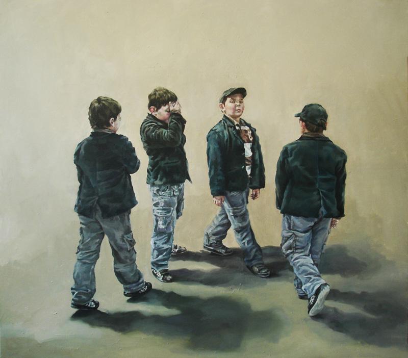 Anca Danila, Semicircle, oil on canvas 80 x 90 cm, 2011