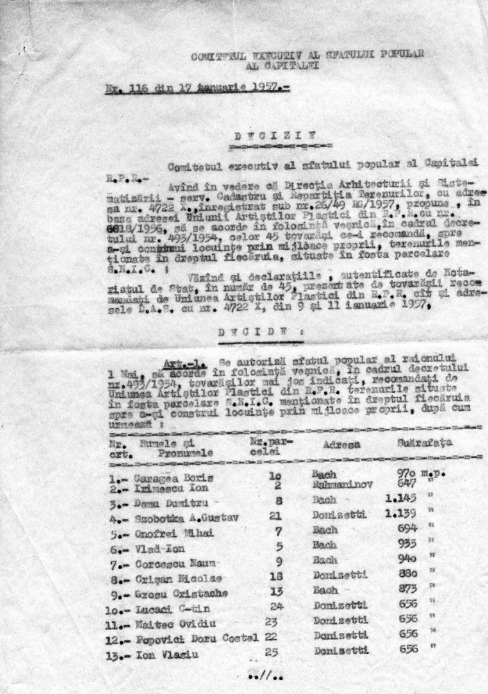 Decizie prin care se acorda in folosinta vesnica terenuri pentru 45 tovarasi recomandati de UAP RPR, 1957