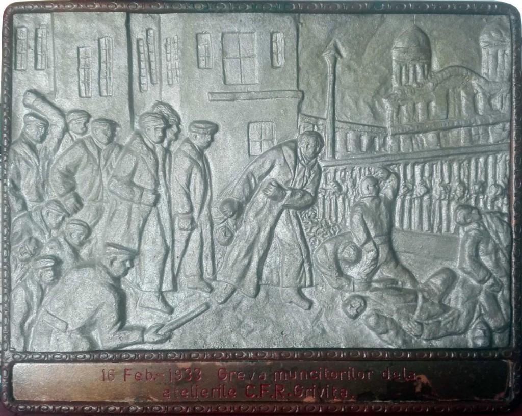 G. M. Varzaru, Greva muncitorilor de la atelierele CFR Grivita, 16 februarie 1933, bronz, 30 x 24 cm