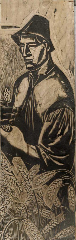 Peasant, woocut, 53x17 cm