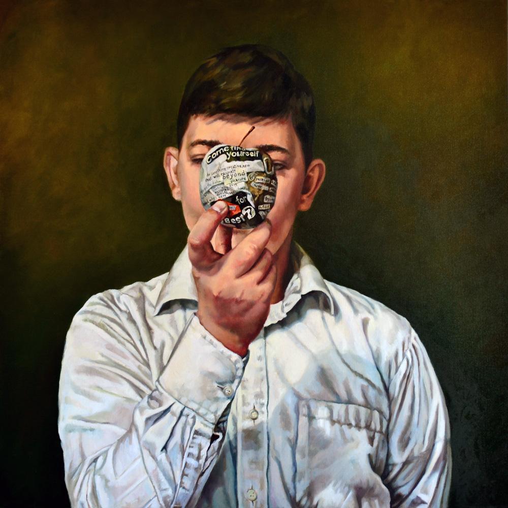 Anca Danila, Accessing my own status, 2015, oil on canvas, 80x80 cm
