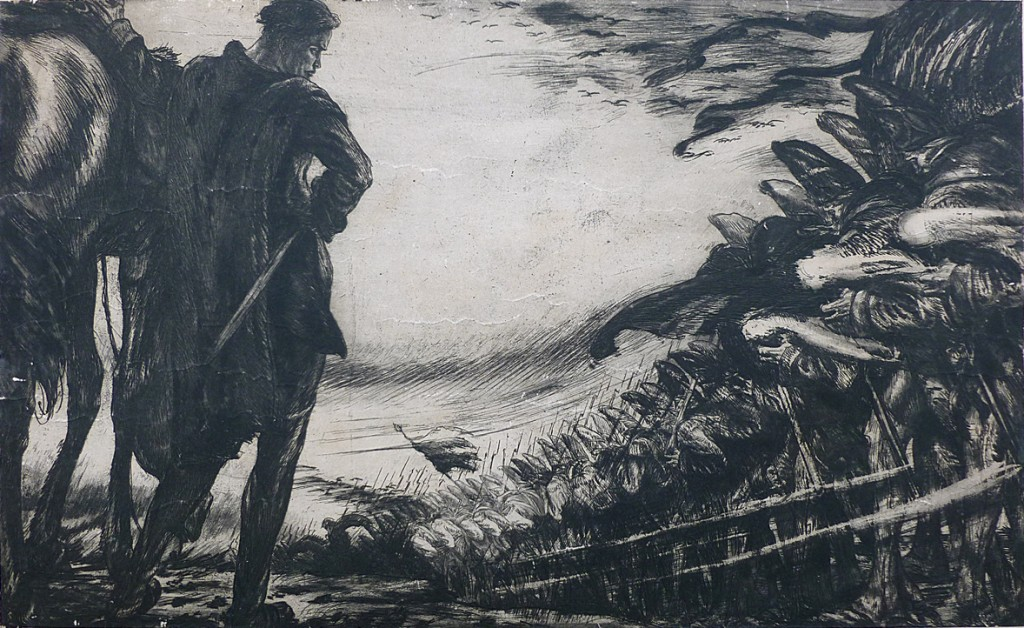 Alois Kolb, Beethoven Eroica (Sinfonie Nr. 3 Es-Dur op. 55), etching and aquatint, circa 1910, 26.7 x 46.4 cm