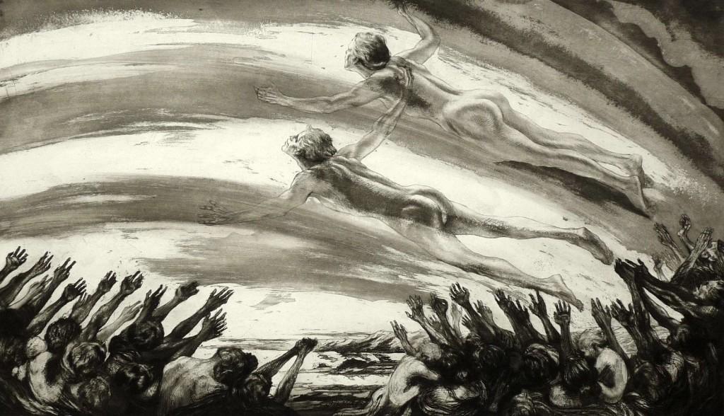 Alois Kolb, Beethoven, Neunte Sinfonie, etching and aquatint, circa 1910, 26.7 x 46.4 cm