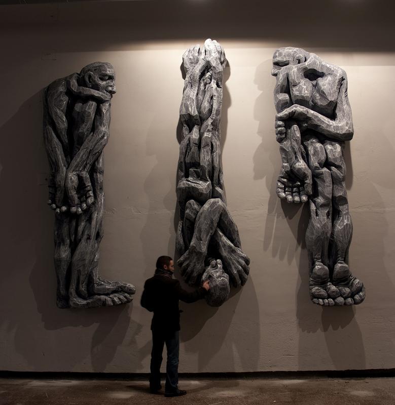 "Cătălin Bădărău, ""Depersonalization"", 2011, Sculpture, carved polystyrene,350 x100x50cm (HxWxD) (2)"