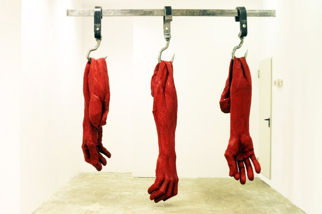 Catalin Badarau, Meat Me III, 2015, Iron and silicone, 320 × 350 × 60 cm